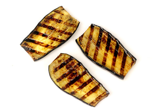 aubergines fried on a grill