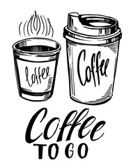 Coffee to go. Paper cup of coffee. Hand drawn sketch converted to vector