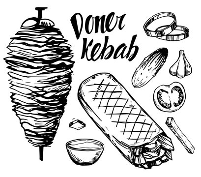 Doner kebab. Hand drawn sketch converted to vector