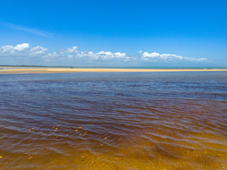 A tranquil river, the sea, the beach, horizon and beautiful landscape - Um rio tranquilo, o mar, a praia, horizonte e bela paisagem (Corumbau - Bahia)