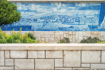 Large display of azulejos, depicting the old town, part of the garden of Julio de Castilho in Alfama district, Lisbon city, Portugal.