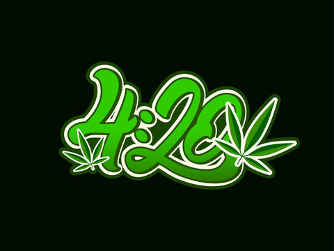 4:20 Marijuana in lettering style with leaf .Cannabis. Vector illustration design.