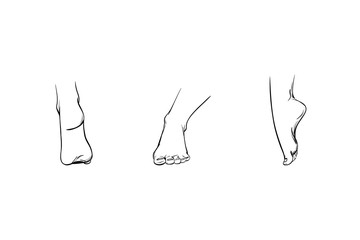 Set of feet in different angles, parts of a human body, lines and strokes sketch drawn. Icons of legs view straight, rear, side. Image of foot care or part for illustration, vector
