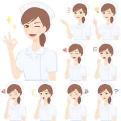若い看護師 白衣 顔 表情 かわいい フラット イラスト セット