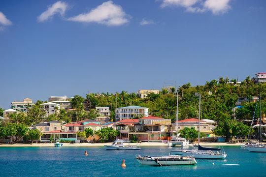 Cruz Bay, St John, United States Virgin Islands with a lot sailboats