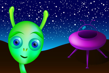 Little green alien with purple saucer visits Earth. Green man from Mars landed in the desert, undiscovered, under night sky and bright stars. UFO, unidentified flying object. Illustration. Vector.