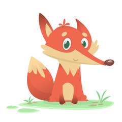Funny cartoon fox character. Flat design Vector illustration