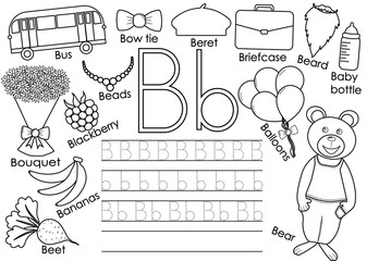 Letter B. English alphabet. Writing practice for children. Educational game. Coloring book. Vector illustration.