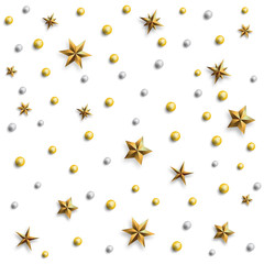 Christmas background. Festive pattern made of gold stars and pearls. Realistic vector illustration.