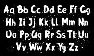 Hand written calligraphy alphabet, black ink brush lettering, abc latin alphabet, grunge font style with ink splashes. Vector