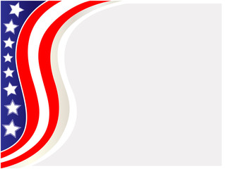 American flag wave pattern frame with empty space for your text.