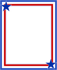 US abstract flag symbolic frame with stars with empty space for your text.