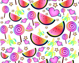 bright cartoon arzubs, bananas and candies of neon. Children's pattern - an idea for gift wrapping, children's metrics