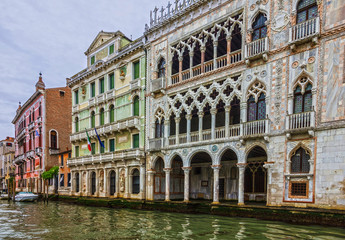 Venice palace architecture, Italy. Grand canal houses view.