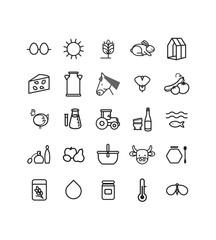 série de pictogrammes, icônes vectoriels sur le thème de la ferme écologique