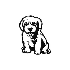 Graphic image of a puppy on a white background