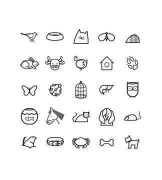 série de pictogrammes, icônes vectoriels sur le thème des animaux