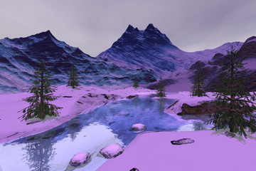 Mountains, a winter landscape, snow on the ground, coniferous trees and stones in the river.