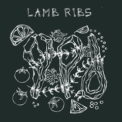 Lamb Ribs Chops with Herbs, Lemon, Tomato, Parsley, Thyme, Pepper. Black Board Background and Chalk. Restaurant Menu. Hand Drawn Illustration. Doodle Style.