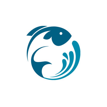 abstract fish icon with blue splash of water