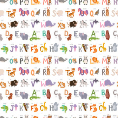 Zoo alphabet with cartoon animals seamless pattern background funny letters wildlife learn typography font language vector illustration.