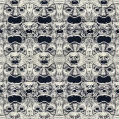 Creepy Mask Theater Motif Seamless Pattern