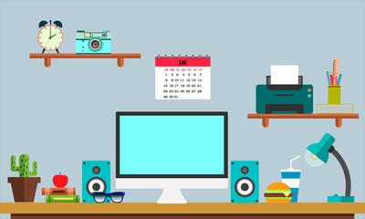 Flat workplace Web banner. Flat design illustration workspace, concepts for business, management, strategy, digital marketing, finance, social network, education.