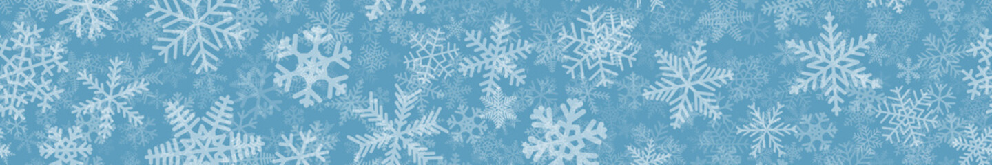 Christmas horizontal seamless banner of many layers of snowflakes of different shapes, sizes and transparency. White on light blue.