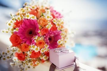 Bridal wedding bouquet of flowers on wedding day on Santorini
