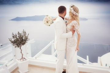 Bride and Groom on Santorini