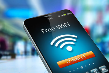 Free WiFi network on smartphone in the shopping mall