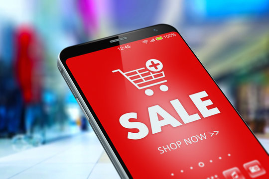 Sale and discount online shopping on smartphone