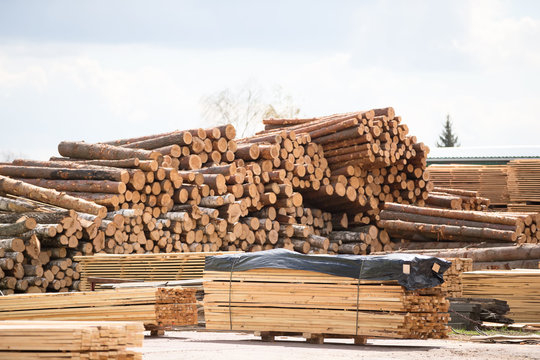 Woodworking plant. Wood processing industry.Wooden warehouse