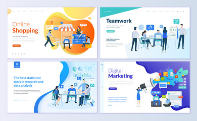 Set of web page design templates for online shopping, digital marketing, teamwork, business strategy and analytics. Modern vector illustration concepts for website and mobile website development.  Wall mural