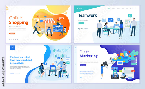 Wall mural Set of web page design templates for online shopping, digital marketing, teamwork, business strategy and analytics. Modern vector illustration concepts for website and mobile website development.