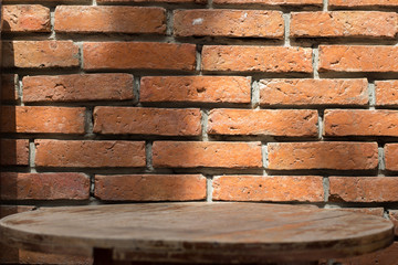 Old brick wall and wooden table Beautiful background