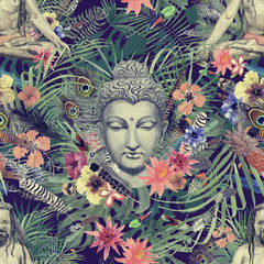 Seamless hand drawn watercolor pattern with buddha head, yogi, flowers, leaves, feathers, flowers.