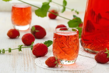 Alcohol strawberry drink