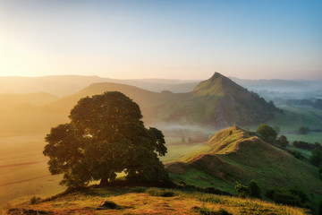 Sunrise over Parkhouse Hill seen from Chrome Hill in Peak District UK Wall mural