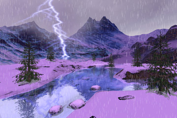 Printed kitchen splashbacks Purple Rain and lightning in the river, a winter landscape, snowy mountains and coniferous trees.