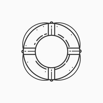 Image of lifebuoy on white background. Linear image.