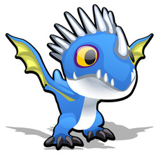 Toy dragon in blue color isolated on white background. Vector cartoon close-up illustration.