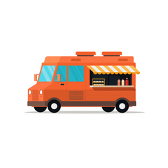 Food truck. Fast food delivery. Mobile food car. Street food van. Isolated on white. Vector illustration.