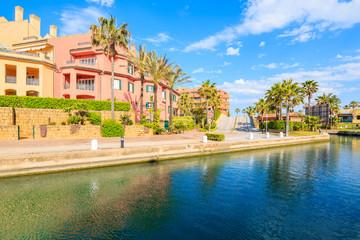Beautiful colorful houses in Sotogrande marina, Andalusia, Spain