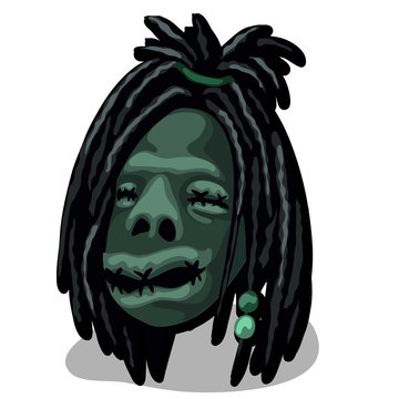 A shrunken head isolated on white background. Talisman tribe of Indians. Vector illustration.