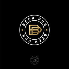 Beer pub logo. Brewery emblem or sign. B and P combined letters on a circle. Linear style.