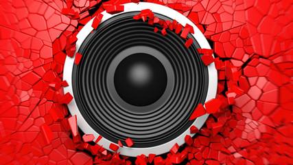 Black sound speaker on red cracked wall background. 3d illustration