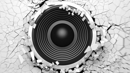 Black sound speaker on white cracked wall background. 3d illustration