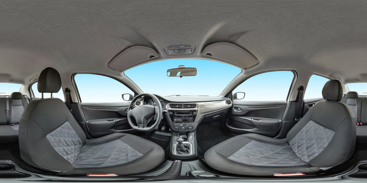 isolated full seamless panorama 360 degrees angle view in interior leather salon of prestige modern car in equirectangular equidistant spherical panorama. skybox for vr ar content