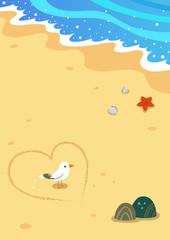 Seagull and beach scenery